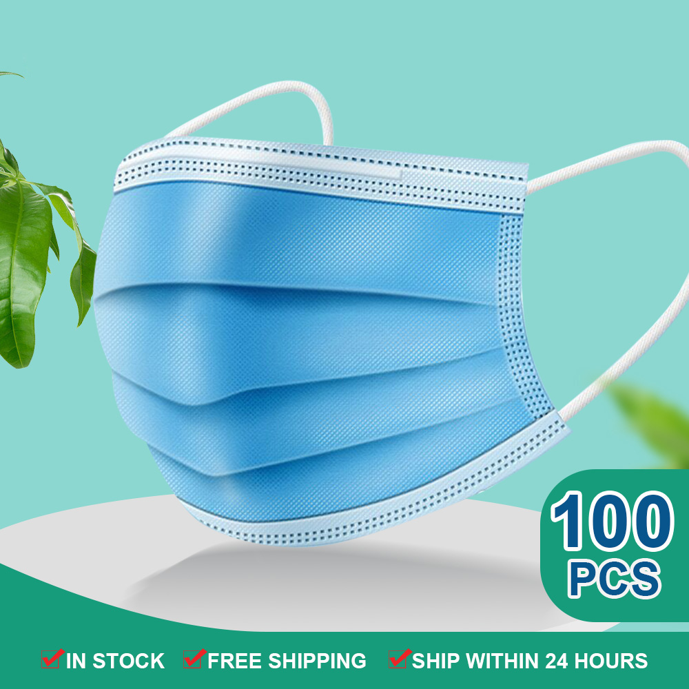 3 Ply Disposable Mask Anti Dust Pollution Face Masks For Germ Protection Mouth Mask Filter Breathable Protective Mask 50/100pcs