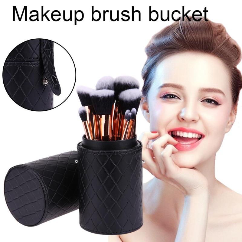 Portable PU Leather Makeup Storage Holder Cosmetic Cup Case Box Organizer Container For Makeup Brushes Pen Black Color 2019 New
