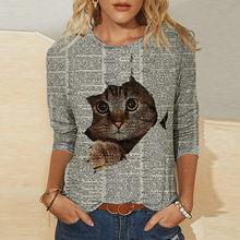 Harajuku kobieta t-shirty graficzne t-shirty Damskie nadruk z kotem O-neck z długim rękawem topy T-shirt Mujer koszulki t-shirty Damskie