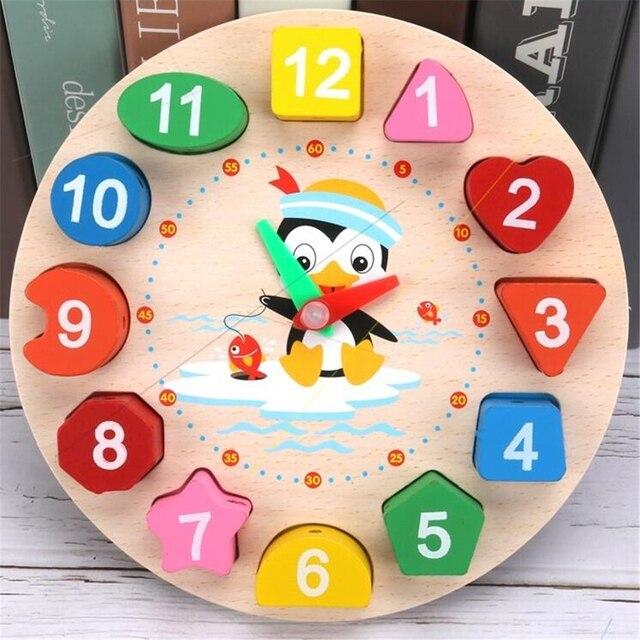 Montessori Cartoon Animal Educational Wooden Beaded Geometry Digital Clock Puzzles Gadgets Matching Clock Toy For Children 5