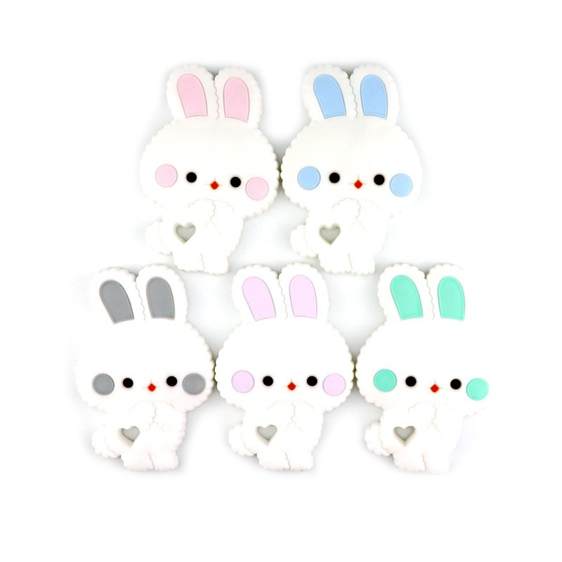 Baby Silicone Teethers Cartoon Bunny Teething Toy Cute Animal Rabbit Baby Teether Silicone Beads DIY Chain Baby Products