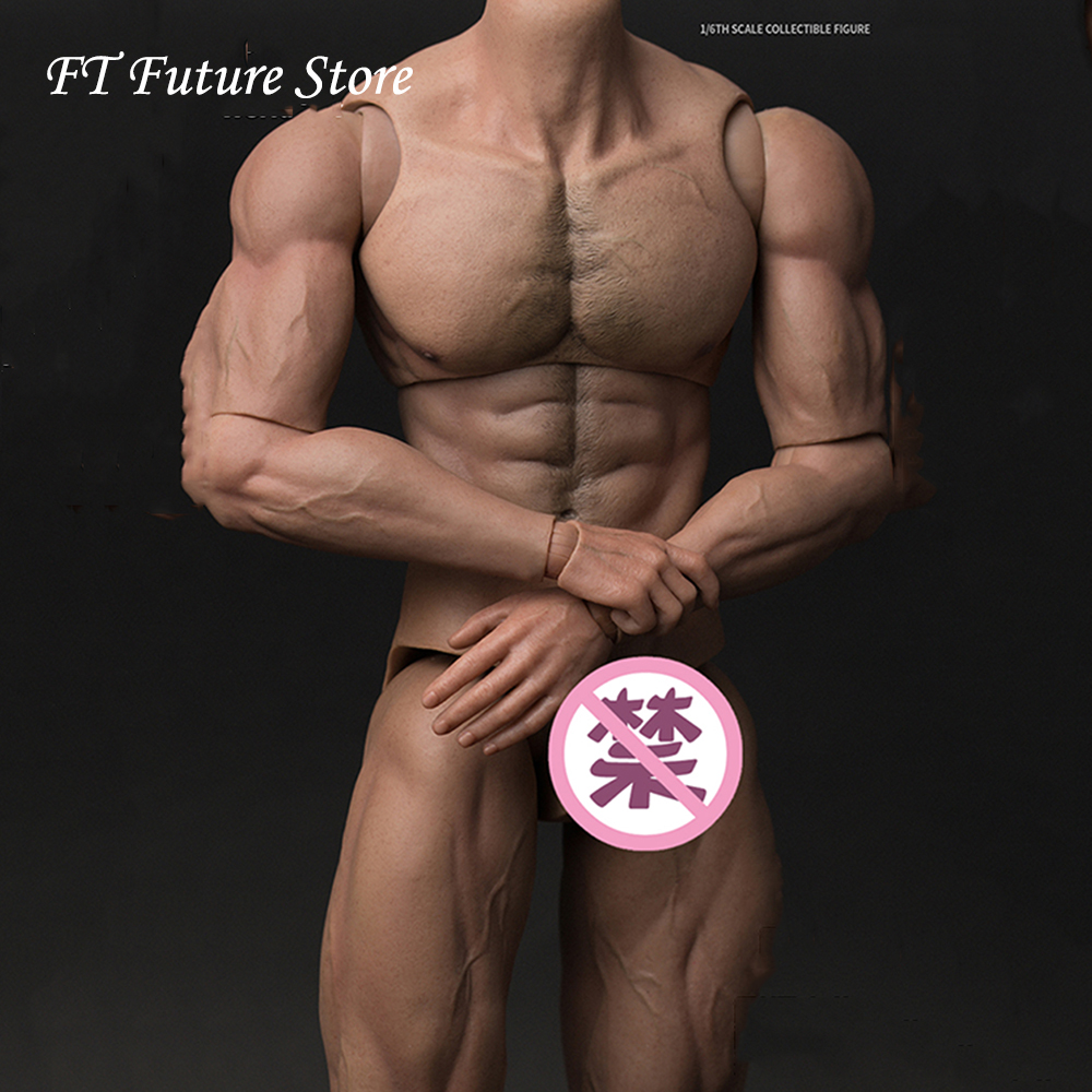 In Stock 33cm Collectible 1/6 Tall Male Body Figure AT027 Durable Body Ripped Muscular Man Strong Body Model for 12'' Body