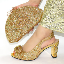 Sexy Ladies Matching Shoes and Bag Set in Golden Color Decorate with Rhinestone High Quality Shoes and Bag To Match For Party new gold office shoe and bag set women shoes and bag set in italy design italian shoes with matching bag set wedding dress shoes