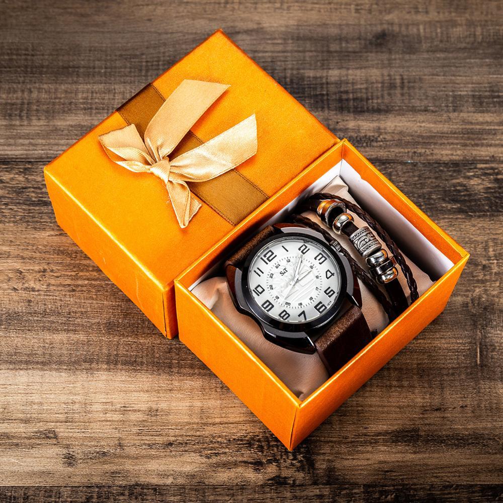 2pcs/set  Quartz Watch Belt Bracelet Set Watches Men's Gift Women's 'gift Set Beautifully Packaged