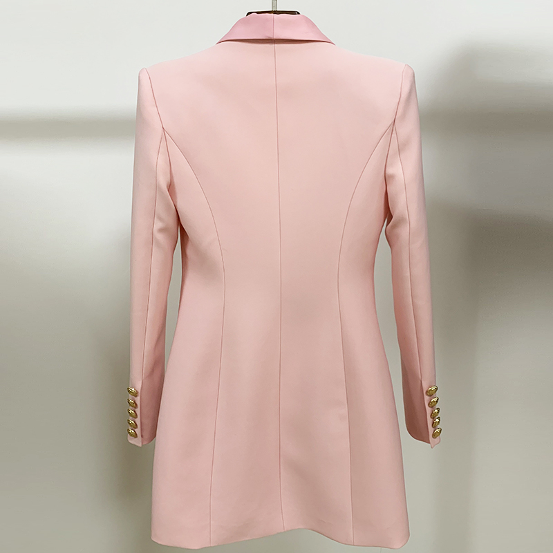Image 3 - HIGH QUALITY Newest 2020 Stylish Designer Blazer Womens Metal  Lion Buttons Shawl Collar Long Blazer JacketBlazers