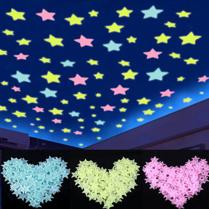 50Pcs/set 3D Stars Glow In The Dark Luminous on Wall Sticker for Kids Room Living Room Wall Decor Home Decoration Glow Stick