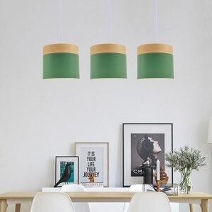 Image 5 - الحديثة قلادة Led تركيب المصابيح مع الخشب الحديد غرفة الطعام بار مقهى مطعم الشمال داخلي اسطوانة خشبية معلقة مصباح