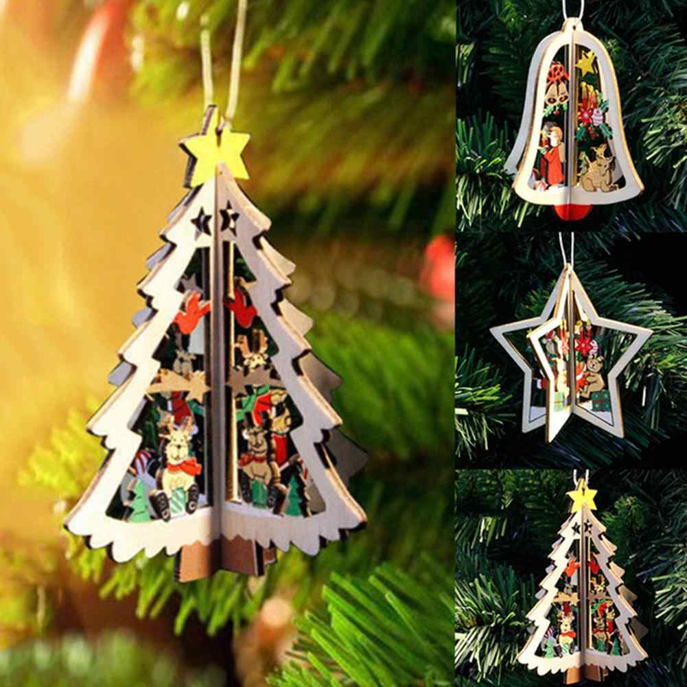 Christmas Tree Ornaments Hanging Xmas Tree Home Party Decor 3D Pendants High Quality Wooden Pendant Decoration Hanging Ornament
