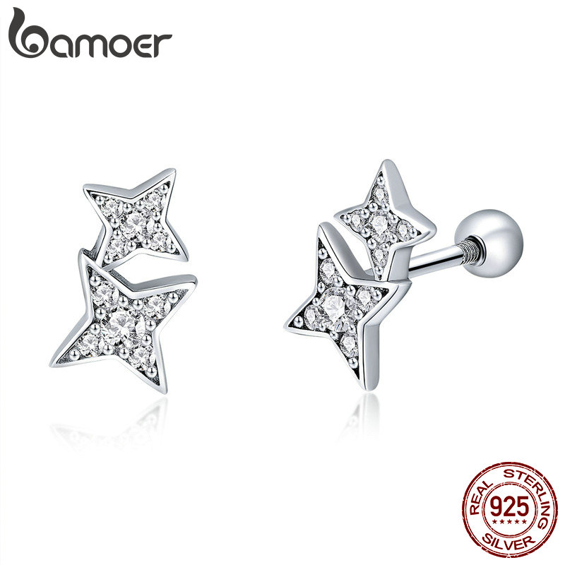 BAMOER 100% 925 Sterling Silver Sparkling Star Meteor Luminous Crystal Stud Earrings For Women Fashion Silver Jewelry SCE432