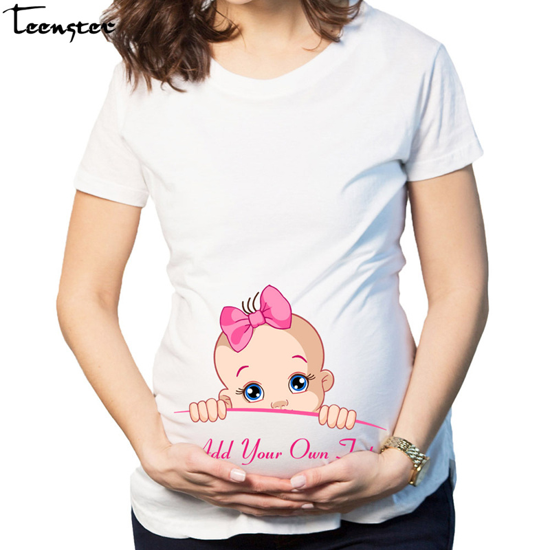 Teenster Pregnancy Shirts Plus Size Maternity Funny Cartoon Printed Summer Woman Top Pregnant T Shirt Mom Tees Premama Tops