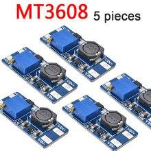 5 pces mt 3608 módulo de fonte de alimentação DC-DC passo acima conversor impulsionador para arduino boost step-up placa de saída máxima 28v 2a