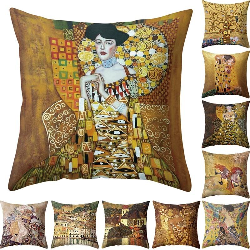 45x45 см портрет, картина наволочки с золотым рисунком наволочки с принтом хлопковая подушка для дивана декоративная крышка для дома