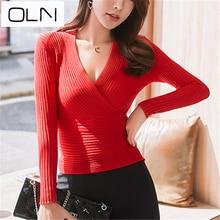 цена OLN sweater autumn and winter Korea new sweater women's cross low chest deep V-neck waist 15 colors sweater в интернет-магазинах