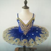 Ballerine Femme altın dantel klasik yetişkin çocuk profesyonel bale Tutu mavi elbise dans kostümü çocuklar