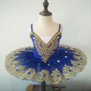 Image 1 - Ballerine Femme, Золотое кружево, классическое, для взрослых, для детей, профессиональное балетное платье пачка, голубое платье, танцевальный костюм для детей