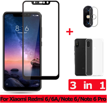 3-in-1 Tempered Glass for Xiaomi Redmi 6A Note 6 Pro Camera Glass Redmi 6A Screen Protector Film Redmi Note 6 Pro Glass redmi note 6 pro 3 32gb pink