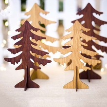 1PCS Christmas Wooden Tree Pendants DIY Ornaments Kid Gift Xmas For Home Party Decoration
