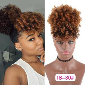 Drawstring Kinky Curly High Puff Ponytail Synthetic Hair Extensions African American Hair Ponytail With Bangs Short Wrap Clip(China)
