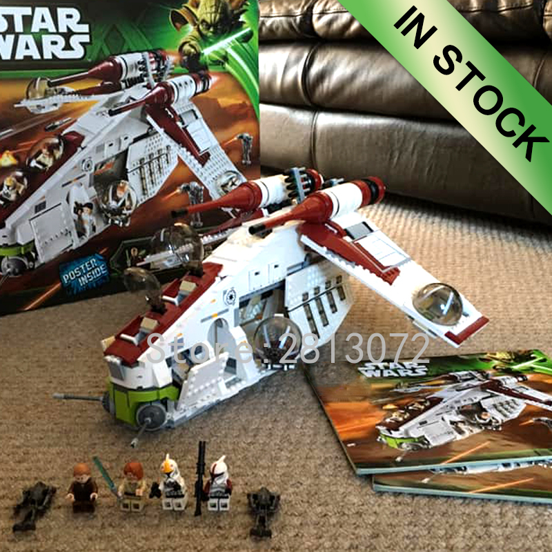 In Stock 05041 Star Series Wars The Republic Gunship 1175pcs Building Blocks Compatible With 75021 05042  8039 Bricks Toys