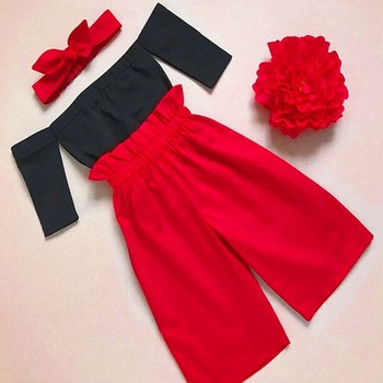 Girls Off Shoulder Tops,Pants and Headband Outfits Set