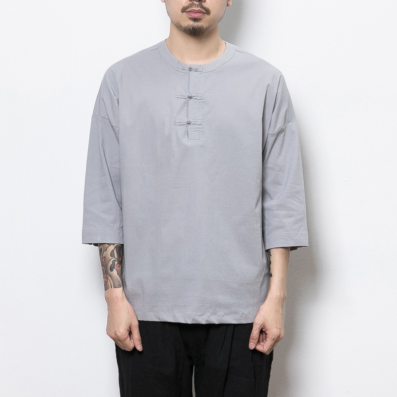 2017 Summer New Style Chinese-style Flax Men Casual Three-quarter Sleeve T-shirt Retro Frog Men's Cotton Linen T-shirt