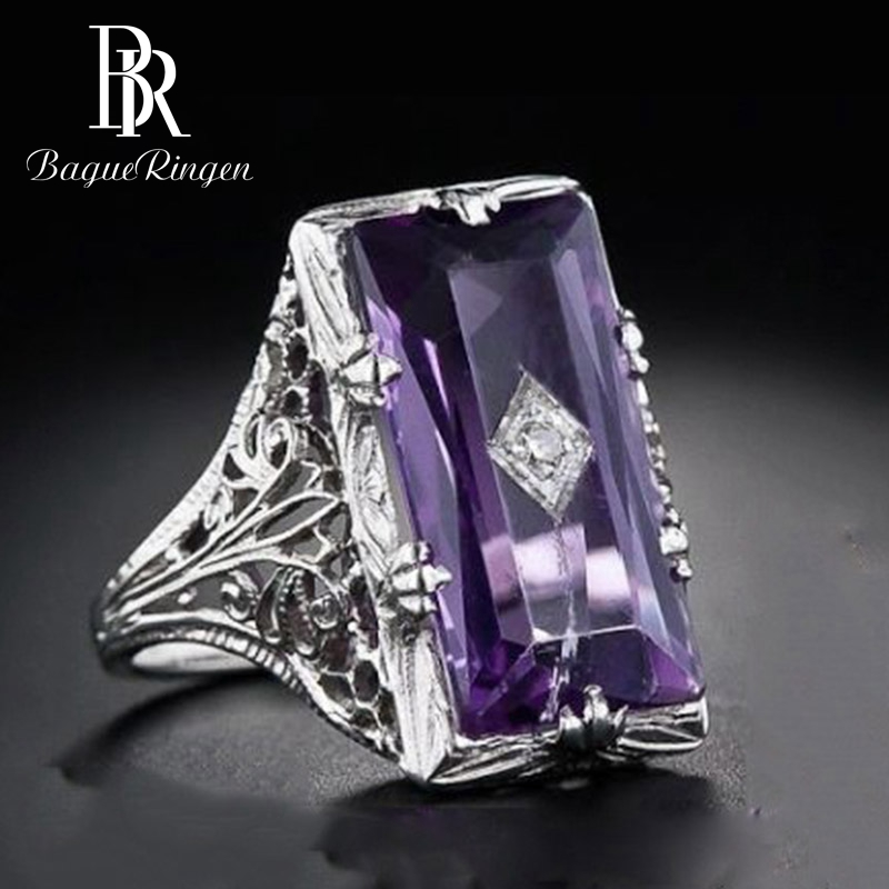 Bague Ringen New Design Vintage Rectangle Amethyst Gemstone Rings For Women Silver 925 Jewelry Party Anniversary Fine Jewelry