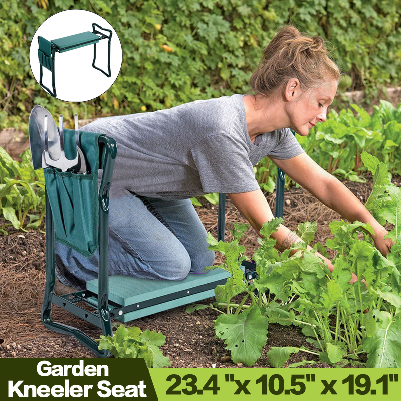 Folding Garden Kneeler and Seat with Bonus Tool Pouch  Portable Portable Garden Stool With EVA Kneeling Pad Handles