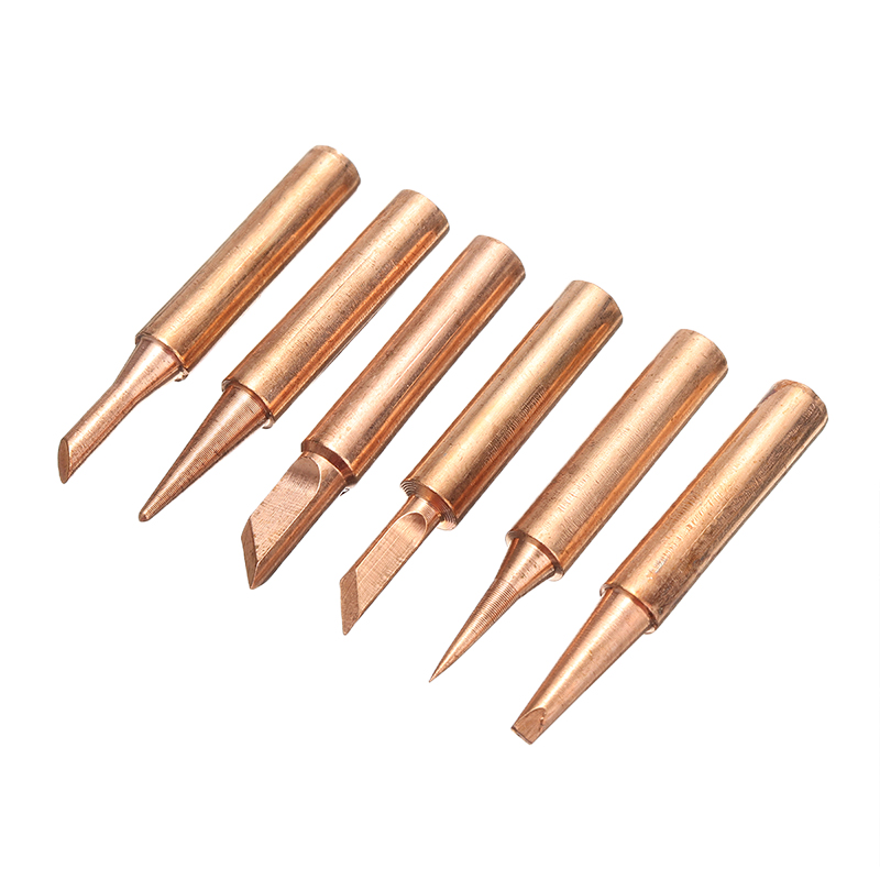 6pcs/Lot Copper Solder Iron Tip 900M-T Lead Free Soldering Welding Tools Set  6 Shapes Tips
