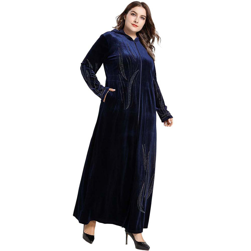 Elegant Muslim Dress Women Fashion Dignified Velvet Embroidered Kaftan Muslim Abaya Islamic Turkey Casual Large Dress Plus Size
