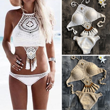 Bikini-Set Swimwear Swimming-Suit Crochet Women Sexy Summer Triangle Tie-Bra Biquini