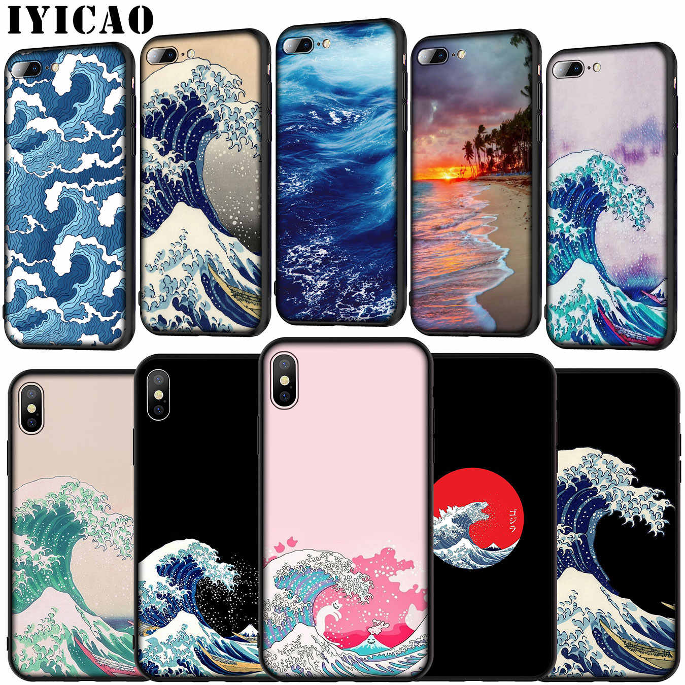 De Grote Golf Van Kanagawa Soft Silicone Cover Case Voor Iphone 11 Pro Xr X Xs Max 6 6S 7 8 Plus 5 5S Se Telefoon Case