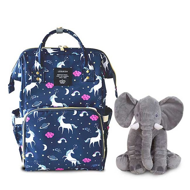 Lequeen Fashion Mummy Maternity Bag and 40cm Elephant Plush Toys Baby Bag Travel Backpack Designer Nursing Bag for Baby Care