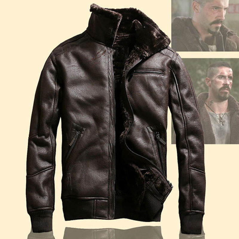 Old Fashion Vintage Mens Faux Fur Coats Winter Air Force Mans Fur Leather Jacket Plus Size US Style Flight Men Coats Velvet A913
