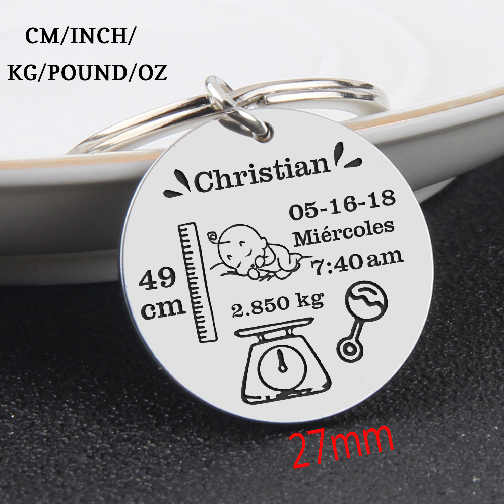 Baby Stats Keychain Personalized Name Weight Time Height For Newborn Commemorate Birthday Stats Romper Keyring New Mom Gift(China)
