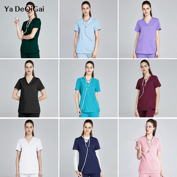 High quality pet club scrubs women uniforms Beautician suits lab dust workwear short sleeved scrubs tops+pants wholesale prices
