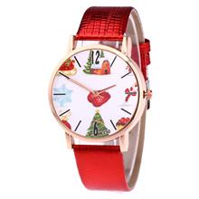 Nowy wzór świąteczny skórzany pasek Analog Quartz Vogue zegarki gorący sprzedaży zegar kobiety zegarki relogio feminino tanie tanio ISHOWTIENDA CN (pochodzenie) Nie wodoodporne Ze stopu Klamra Moda casual Cyfrowy Szkło Skórzane ROUND