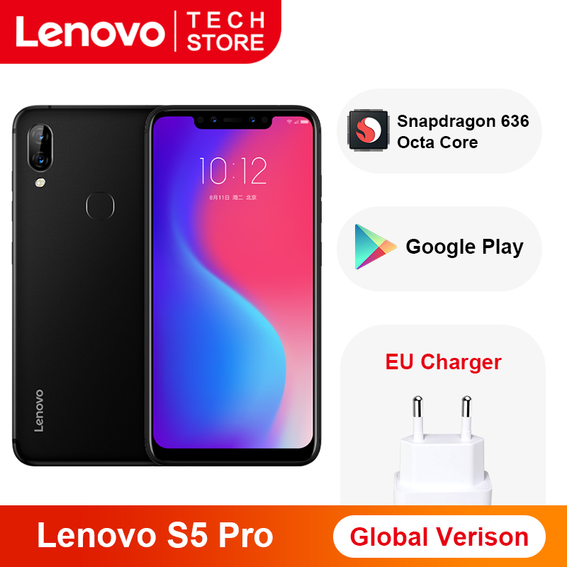 Global Version Lenovo S5 Pro Smartphone 6GB 128GB Snapdragon 636 Octa Core 20MP Quad Cameras 3500 MAh 6.2 Inch 4G LTE Phones