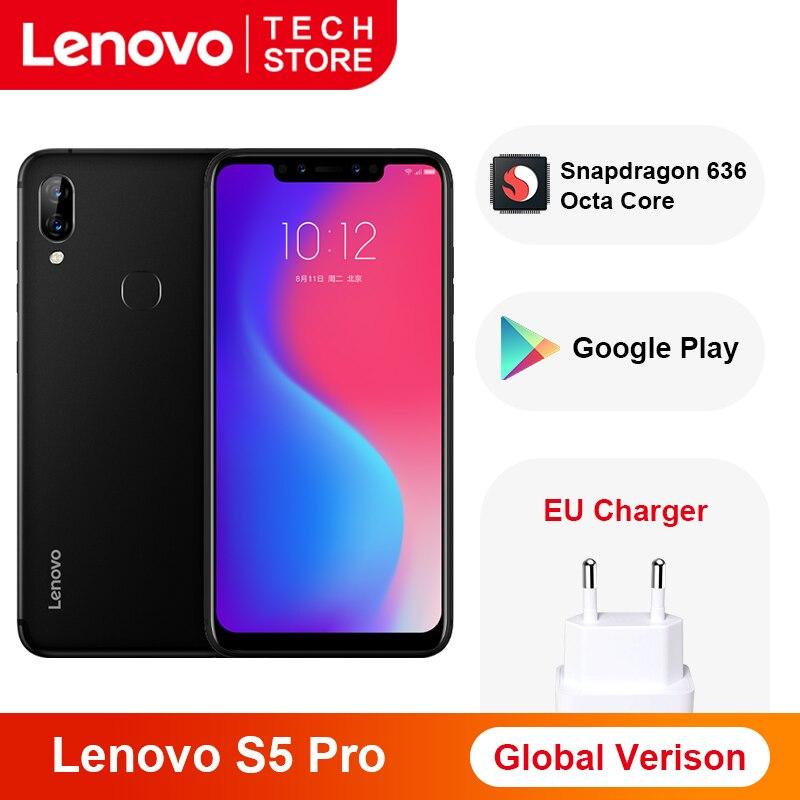 Global Version Lenovo S5 Pro Smartphone 6GB 128GB Snapdragon 636 Octa Core 20MP Quad Cameras 3500 MAh 6.2 Inch 4G LTE Phones