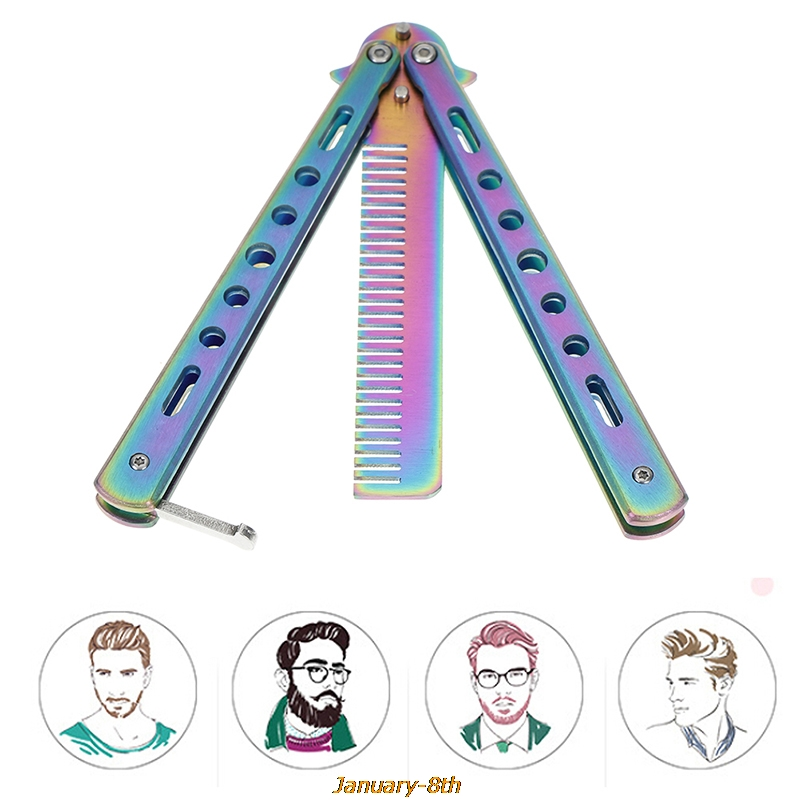 1pc Foldable Comb Stainless Steel Practice Training Butterfly Knife Comb Beard & Moustache Brushes Hairdressing Styling Tool Combs  - AliExpress