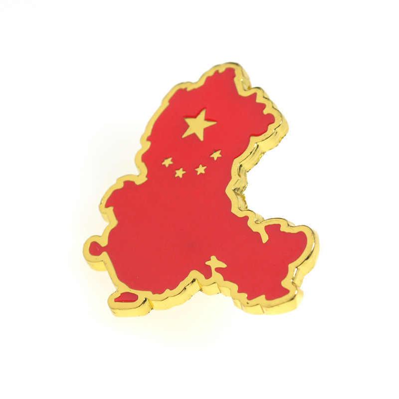 Beş yıldızlı kırmızı bayrak broş kırmızı çin haritası alaşım emaye rozeti broş yaka kravat pimleri sembolü çin broş Unisex