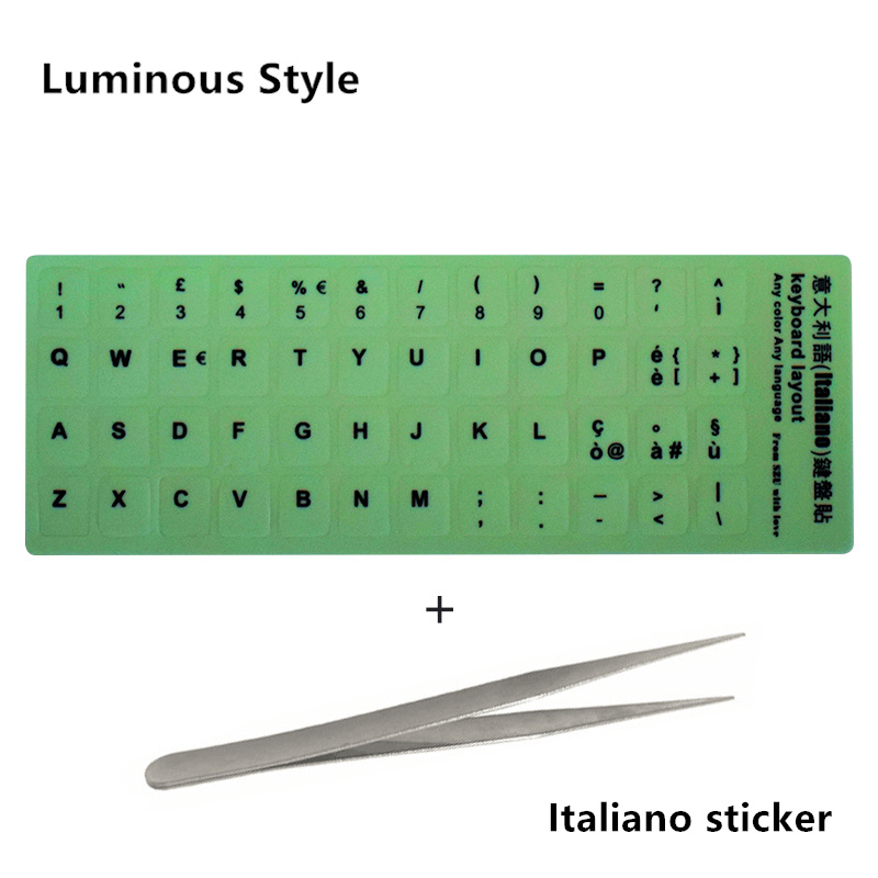 NEO STAR прозрачные и светящиеся наклейки на клавиатуру русский/испанский/английский/французский/немецкий/Корейский буквы защитный чехол для ноутбука - Цвет: 13 Italiano sticker