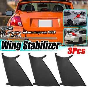 New Black Car Rear Trunk Boot Lip Spoiler Wing Lid Stiffi Support Stabilizer Rally For Subaru Impreza 2011-2014 STi WRX Sedan(China)