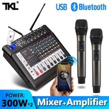 TKL 6 ערוץ אודיו מיקסרים עם 300Wx2 כוח מגבר אלחוטי מיקרופון Effector REC קול ערבוב MP3 Bluetooth DJ מיקסר