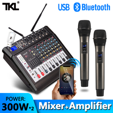 TKL 6 Channel Audio Mixers with 300Wx2 Power Amplifier Wireless Microphone Effector REC Sound Mixing MP3 Bluetooth DJ mixer