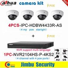 Dahua IP Camera Kit NVR kit 4CH 4K videoregistratore NVR2104HS P 4KS2 e Dahua 4MP IP camera 4pcs IPC HDBW4433R AS multilingue