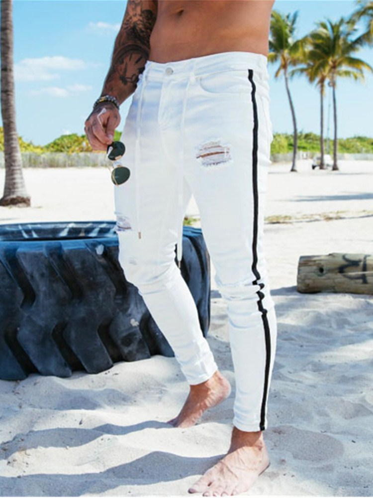 2020 Men's Painted Skinny Slim Fit Straight Ripped Distressed Pleated Knee Patch Denim Pants Stretch Jeans