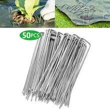 50 teile/paket Garten Peg Silber Metall U-Form Garten Grundnahrungsmittel Garten Boden Nagel Film Fixed Pegs Gartenarbeit Befestigung Werkzeuge film Peg