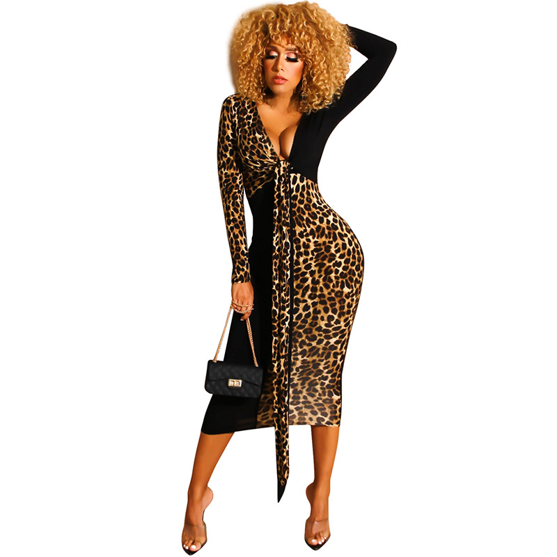 Echoine Women's <font><b>sexy</b></font> maxi <font><b>Dress</b></font> Contrast Leopard Print Deep V slim female <font><b>dresses</b></font> long sleeve plus size ladies Nightclub <font><b>5XL</b></font> 4XL image