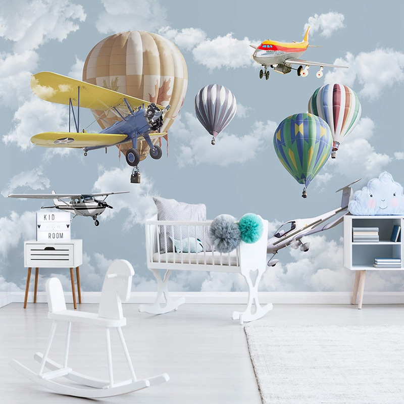 Photo Wallpaper 3D Hand-painted Cartoon Airplane Balloon Children's Room Murals Nordic Style Creative Wall Painting Home Decor