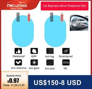 2PCS Anti Fog Car Mirror Window Clear Film Anti-Light Car Rearview Mirror Protective Film Waterproof Rainproof Car Sticker